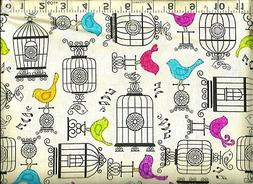 Quilting Treasures ~ Song Birds Cages on Creme ~ 100% Cotton