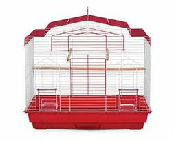sp50041 barn style bird cage, red/white