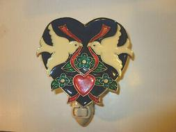 """STAINED GLASS STYLE """" DOVES IN A HEART""""  NIGHT LIGHT"""
