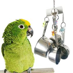 BWOGUE Stainless Steel Cup Bell Toys for Birds, Heavy Duty B