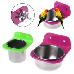 Stainless Steel Food Water Bowl Bird Feeder For Crates Cages
