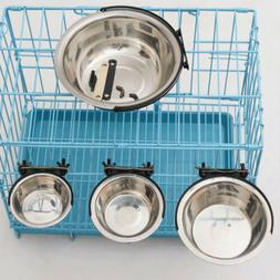 Stainless Steel Hanging Food Water Bowl For Crate Cages Coop