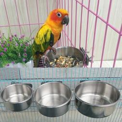 Stainless Steel Parrot Food Bowl Water Feeding Feeder Bird C