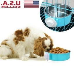 Stainless Steel Pet Hanging Food Water Bowl Cages Coop Dog C