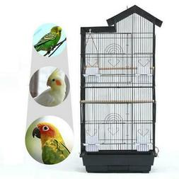 "39"" Steel Bird Parrot Cage Canary Parakeet Cockatiel W Wood"