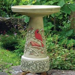Burley Clay Summer Cardinal Bird Bath Set