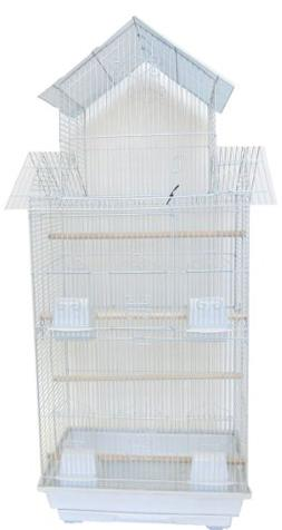 YML 18-Inch by 14-Inch Tall Pagoda Top Bird Cage, White