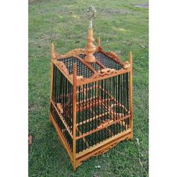 Teak wood stencil bird cage 17 sticks black bamboo with hang