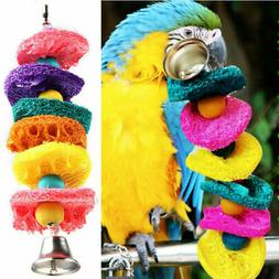 Top Colorful Bird Parrot Cages Toys Natural Loofah Handmade