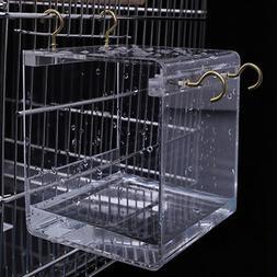 Transparent Pet Bird Bath House with Hanging Hooks Parrots P