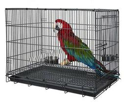 Travel Collapsible Parrot Parakeet Bird Carrier Cage Perch F