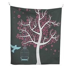 TreetapestryTree with Seafoam Bird Cage and a Bird Flowers f