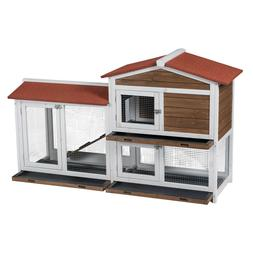 Two Floors Wood Outdoor Indoor Roof Waterproof Bunny Hutch R
