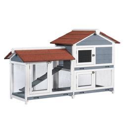 Two Floors Wood Outdoor Indoor Roof Waterproof Bunny Hutch R