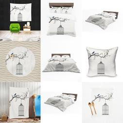 UK Made 3D New Bird Cage Sketch Design Print Duvet Covers or