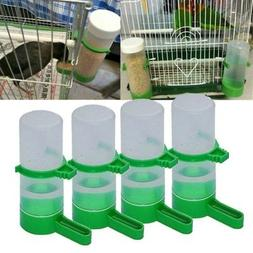 US 4pc Set Pet Bird Cage Water Drinker Food Feeder  Waterer