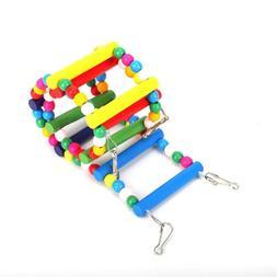 US Bird Toys Wood Ladder Step Parrot Swing Bridge Accessorie