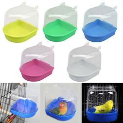 1Bird Water Bath Tub Pet Bird Cage Hanging Bowl Parrots Para