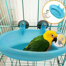 US Bird Water Bath Tub For Pet Bird Cage Hanging Bowl Parrot