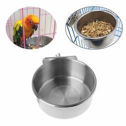 US Omni Pet Stainless Steel Coop Cup Parrot food Feeder Wate