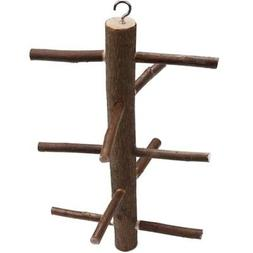 US Parrot Birds Perch Standing Wooden Stick Toys Gym Rotate