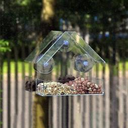 US Window Bird Feeder With 3 Suction Cups Transparent Acryli