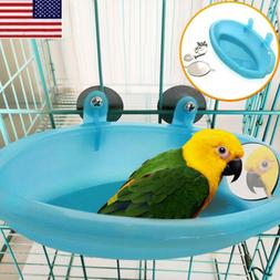 Pet Birds  Plastic Bath Basin With Mirror Small  Parrot Bath