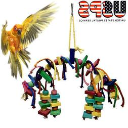 USA Pet Parrot Bird Chew Toy Cages Hang Toys Wood Large Rope