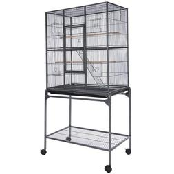 Vein Black Rectangle Double-deck Parrot Bird Cage with Powde