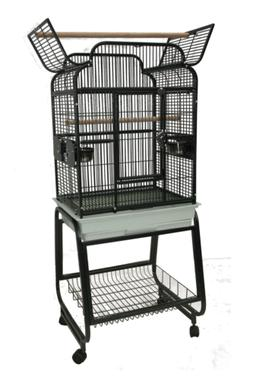 Victorian Open Play Top Bird Cage with Stand, Platinum
