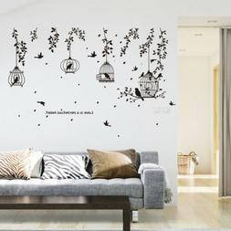 Vine Bird Cage Wall Stickers Art Decal Home Decor Mural Viny