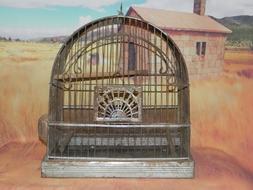 Vintage Crown Art Deco Bird Cage w/ Glass Feeder Waterer Met