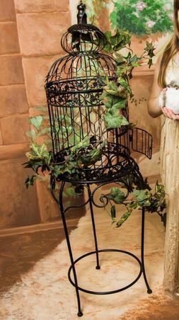 Vintage Bird Cage Decorative Stand Antique Style Metal Weddi