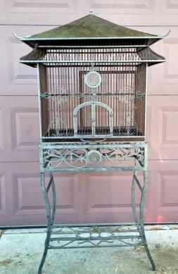 Vintage Pagoda Style Bird Cage Floor Standing Glass Accents