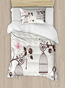 Vintage Twin Size Duvet Cover Set Bird Cages Keys Doves with