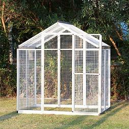 Kinbor 6'x4' Walk in Large Aviary Bird Cage Iron Pet House H