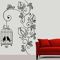 Wall Sticker Flowering Branch With Bird Cage Removable Home