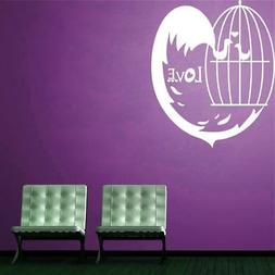 Wall Sticker Love Bird Cage Living Room Décor Vinyl Picture