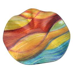 Border Concepts 12 in. Wavy Colored Wavy Glass Plate