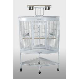 Prevue Hendryx White Corner Parrot Cage With Bottom Storage