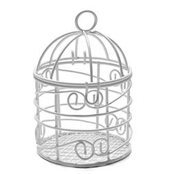 Package of 12 Small White Metal Bird Cages for Wedding Favor