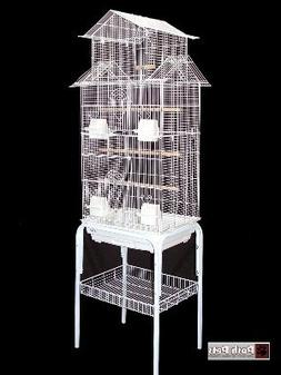 barcelona White Pagoda Bird Cage With Stand For Small Birds