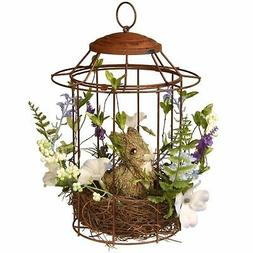 National Tree 12 Inch Wire Birdcage with Natural Wood Nest a