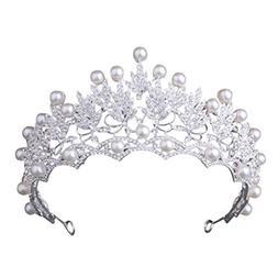 Women Crystal Crown, Elevin Women Wedding Bridal Crown Pearl