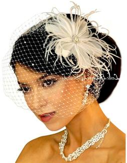Women's Pearl with Feather Clip & Bridal Birdcage Veil One S