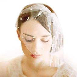 Women's Short Birdcage Wedding Veil White Ivory with Comb Pe