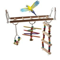 Emours Natural Wood Bird Ladder Small Animal Swing Cage Acti