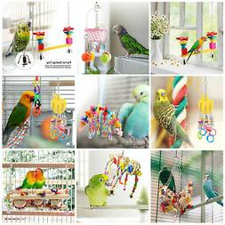 Wood Bird Parrot Ladder Activity Center Chewing Toy Entertai
