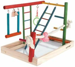 Penn Plax Wood Bird Playpen, Parrot Playstand Bird Playgroun