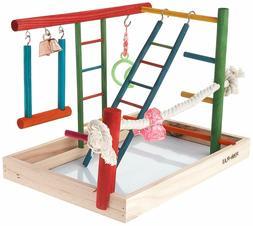Bird Play Gym Parrot Perch Stand Birds Activity Center Woode